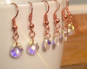 Swarovski Crystal Earrings with Rose Gold Set of 3