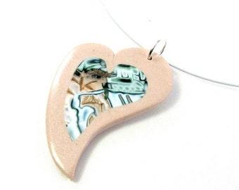 Collier coeur original cuivré et vert, pâte polymère, ras du cou, idée cadeau petit prix