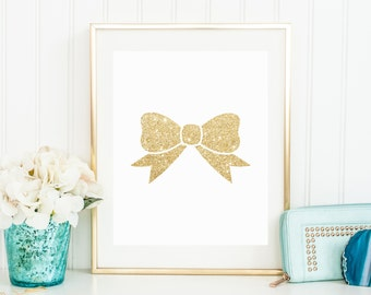 Gold Glitter Bow Printable - Cheerleading, Dance, Girls Room - Kate Spade Inspired - Instant Download - High Resolution JPEG & PDF