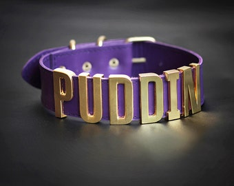 Exclusive Purple PUDDIN Choker Harley Quinn Cosplay Margot Robbie Necklace Suicide Squad Halloween Costume Leather BDSM collar neck belt