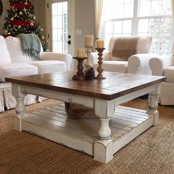 Distressed Farmhouse Living Room: Antique White Harvest Coffee Table