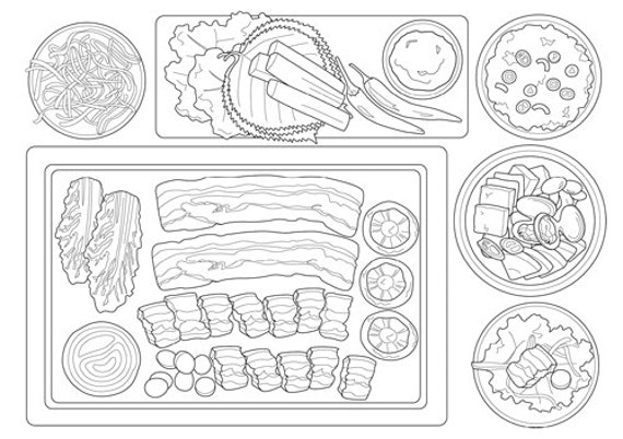 Food Coloring Book Coloring Page