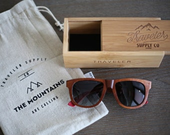 Traveler's Polarized Wooden Wayfarer Sunglasses - 100% UV Protection   Handcrafted Wood