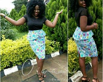 Pencil Skirt with Peplum; Ankara Pencil Skirt