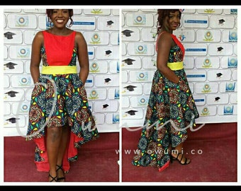 Midun Evening Dress, high-low African Print Dress
