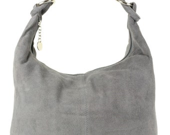 Genuine Italian Suede Hobo Slouch Shoulder Bag Black Tan Grey