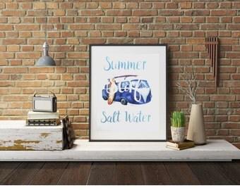 Typography A4 Poster,Print on Paper Summer, Surf, Salt Water, Quotes,   Beach , Kombi Modern Wall Art, Home Decor  Unframed