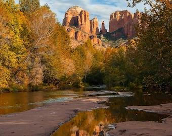 Cathedral Rock, Red Rock Crossing, Crescent Moon, Sedona Arizona Reflections, Fine Art Print