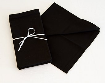 Set of Four Classic Black Cotton Napkins, 18x18 Inch Black Napkin Set with Mitered Corners.