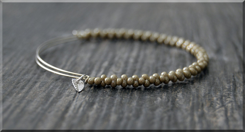 khaki woven beaded bangle bracelet adjustable jewelry