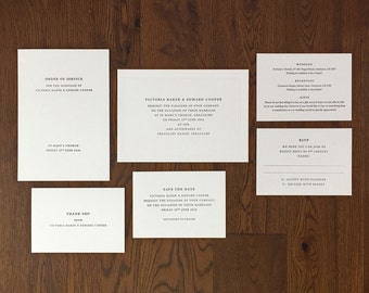 Letterpress wedding stationery sample suite: Traditional, Luxury, Hand printed, Wedding stationery