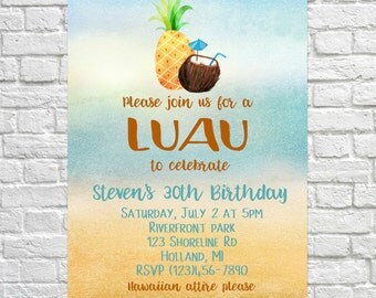 Luau Birthday Invites, Pineapple Invitations, Summer Birthday Invite, Adult Birthday, Kid's Birthday Invitations, Summer Theme Party