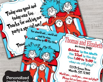Thing 1 and Thing 2 Birthday invite,Dr Seuss invite,JPG file,Invite,Thank You Card,Thing 1 & 2 Birthday Party Invite,DPP37