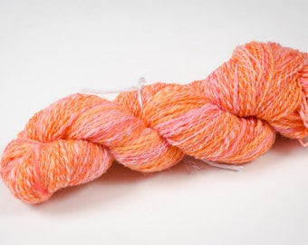 "242 Yards worsted weight - Hand Spun and Hand Dyed 100% Wool Yarn in ""Bubblegum"" colorway"