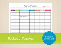 Workout Tracker - Fitness Log - Health and Fitness Printable - Workout Log - Printable and Editable - INSTANT PDF DOWNLOAD