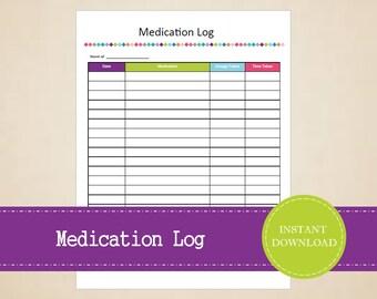 Medication Log - Medical Binder - Medical Information Kit - Printable and Editable - INSTANT PDF DOWNLOAD