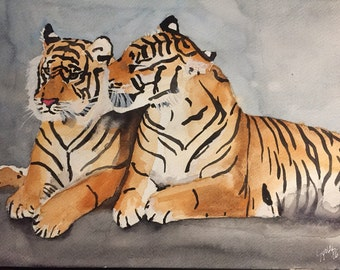 Pair of Tigers, Watercolor Painting