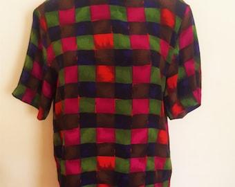 Vintage Color Block Silk Top
