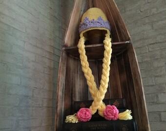 RAPUNZEL PRINCESS HAT, Crochet Hat, Winter hat, Princess Hat, Braid Hat, Rose, Crown,