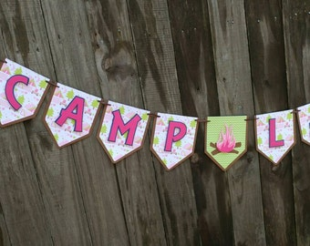 Glamping Birthday Banner, Girls Camping Birthday, Camping Banner, Camping Birthday Decorations, Pink Camping Party, Glamping Party