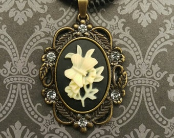 Ghost butterfly Cameo Beaded Necklace