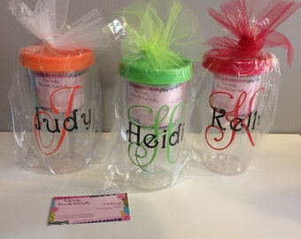 Travel wine glass sippy cup personalized Pool Beach wedding party bachelorette