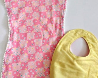 Bib and burp cloth set - checkerboard polkadots