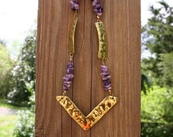 Amethyst Brass Arrow Head Necklace