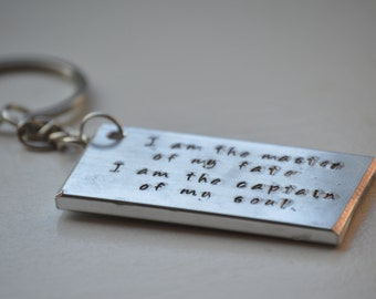 Chunky aluminium personalised hand-stamped keyring