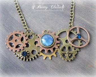 Steampunk necklace, steampunk handmade pendant, steampunk jewelry, steampunk gears pendant, elegant steampunk necklace, gears pendant