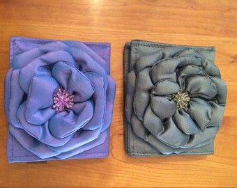 Silk Bifold Wallet With Flower and Beading Detail