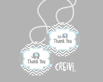 Instant Download Blue and Grey Elephant Boy baby shower, Favor tags, Thank You Tags Boy baby shower tags, DIY, Printable ( EL005)