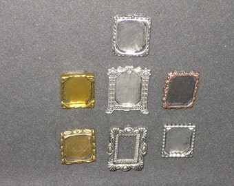 """1/12th Scale (1"""" scale) 7 piece Miniature Metal Picture Frames. Dollhouse and Room Box Decorations. (MF-set1)"""