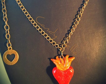 Glittery Sacred Heart polymer clay necklace