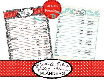 Black Friday Cyber Monday Sales Planner List-Shopping Checklist-Shopping Log-Printable-PDF Instant Download, Letter Portrait
