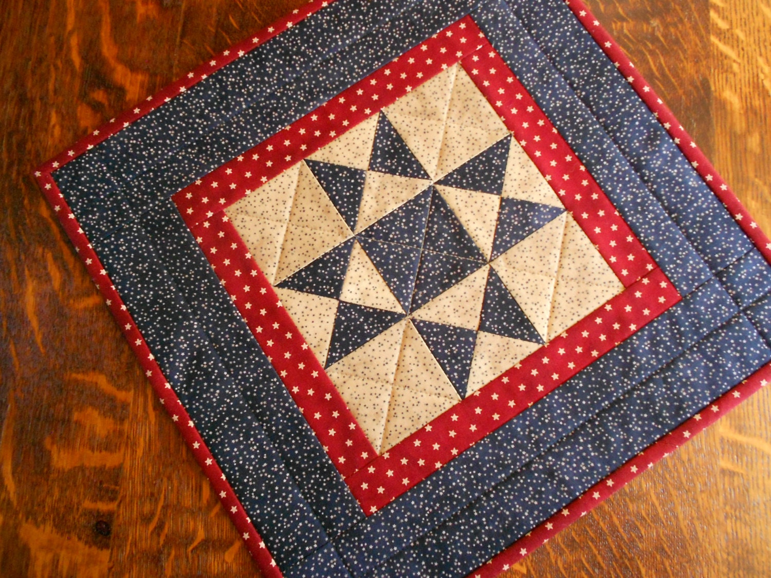 Free Patterns For Quilted Candle Mats : July 4th Quilted Candle Mat/Table Topper Country Colors of
