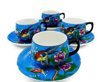 Japanese Tea Cups and Saucers, Art Deco,Chicaramachi