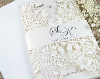 100 ;aser cut wedding invitations with envelopes