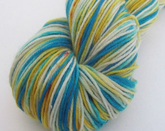 """Hand dyed sock yarn in """"Retro Future"""" colorway"""