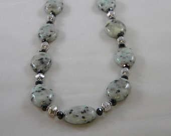 OOAK Sesame Jasper, Black Glass and Silver Plate Beaded Necklace