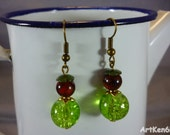 Green bead earring and mottled brown earrings boho nature jewelry woman