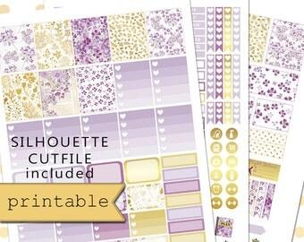 Golden Violet Printable Planner Stickers/Erin Condren Planner Stickers/Weekly Planner Sticker Kit/Floral Planner Stickers