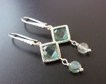 Blue swarovsky earrings