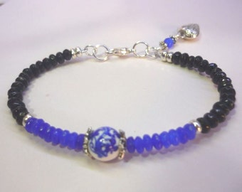 Bracelet Onyx and jade blue, protection and peace