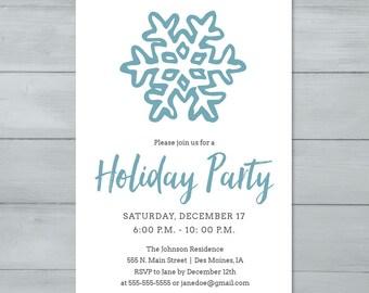 Snowflake Holiday Party Invitation  |  Christmas Party Invitation  |  Holiday Party Invite