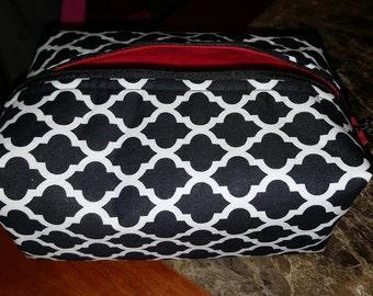 Black & White Lined Makeup Bag