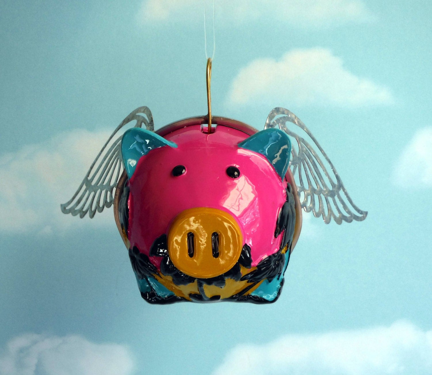 Flying Pig When Pigs Fly Piggy Bank Word Banner Available