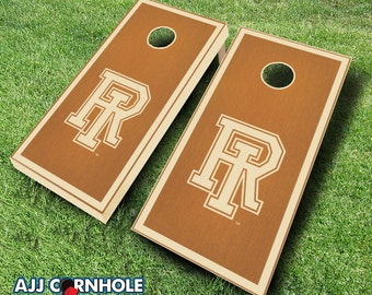 Officially Licensed Univserity of Rhode Island Maple Stained Cornhole Set with Bags - Bean Bag Toss - Rhode Island Cornhole - Corn Toss