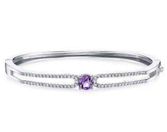 Amethyst Solaris Bangle Bracelet Sterling Silver 0.75 Carats