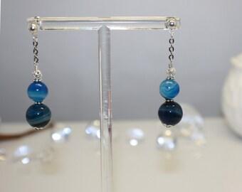 Blue Stripe Agate Silver Plated Stud Drop Earring